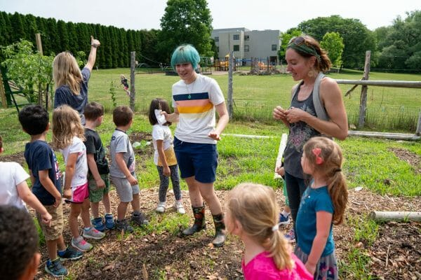 Davy and students in the microfarm.