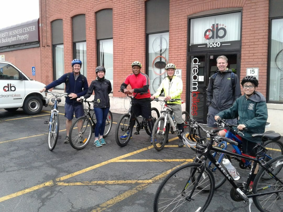 Outside Dream Bikes with Doug Gilbert '87, Brook Mayer '04, Jason Vick '84, Paul Barrows '80, Dennis and Leo Drew.