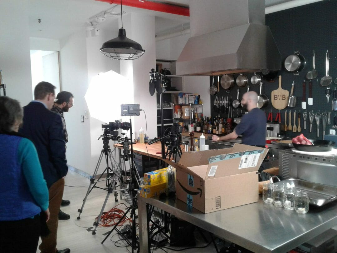 """The """"Binging with Babish"""" studio with Andy Rea '05 and Sawyer Jacobs '05."""